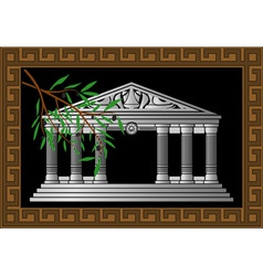 Fantasy hellenic temple and olive branch vector