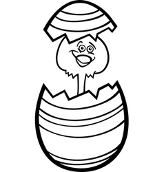 Chicken in easter egg cartoon for coloring vector