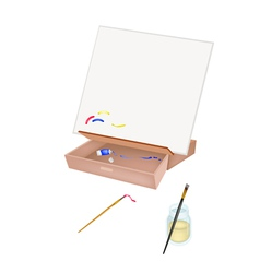 Easel with artist brushes and paint tubes vector