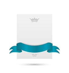 Celebration card with blue ribbon and crown vector