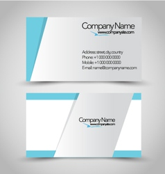 Business card set template blue and silver color vector