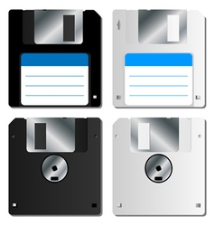 Realistic floppy disk set vector