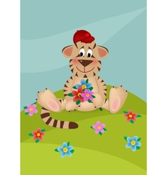 Tiger with bouquet of flowers vector