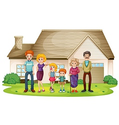 A family outside their big house vector