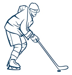 Hockey player in action vector