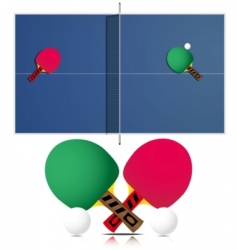 Ping pong table and rackets vector
