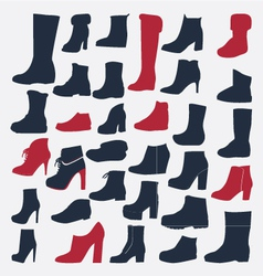 Silhouette icons set of fashion shoes vector