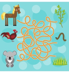 Chicken horse koala labyrinth game for preschool vector
