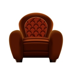Brown armchair on white background vector