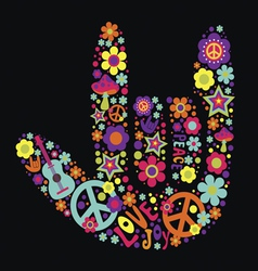 Psychedelic hand sign vector