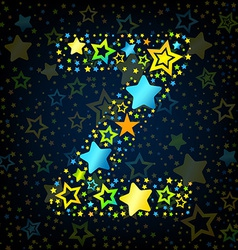 Letter z cartoon star colored vector