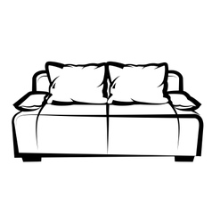 Sofa freehand drawing icon black and white vector