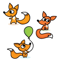 Set with foxes vector