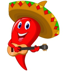 Chili pepper mariachi cartoon wearing sombrero pla vector