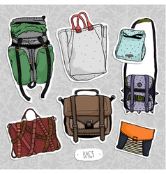 Colored bags set vector