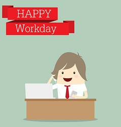 Businessman is happy at the workday call center vector