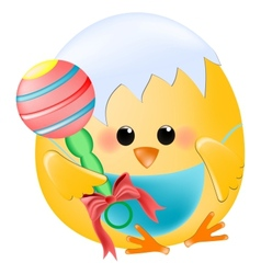Chick baby with rattle vector