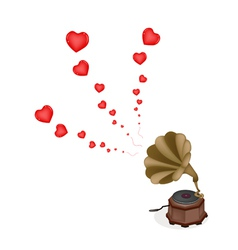 A beautiful vintage gramophone play romantic song vector