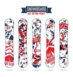 Ice retro print for snowboard vector