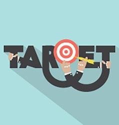 Target with dart arrow in hand typography design vector