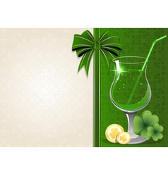 Leprechaun drink with coin and clover vector