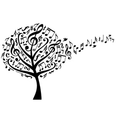 Music tree with notes vector
