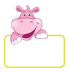 Baby hippo cartoon label vector