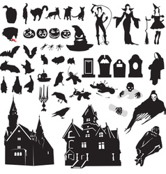 Set of silhouettes symbolizing halloween vector