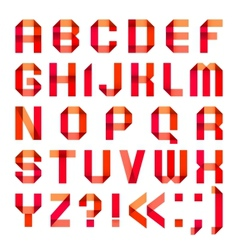 Spectral letters folded of paper ribbon-red vector