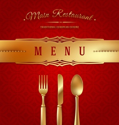 Menu cover with golden cutlery and decor vector