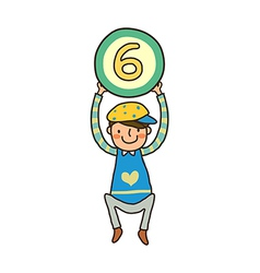 Boy holding number vector