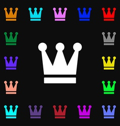 King crown icon sign lots of colorful symbols for vector