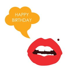 Lips happy birthday color vector