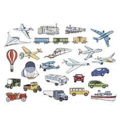 Transportation over the world color set vector