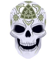 Skull with celtic tattoo vector