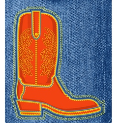 Cowboy shoe on blue jeans background boot symbol vector