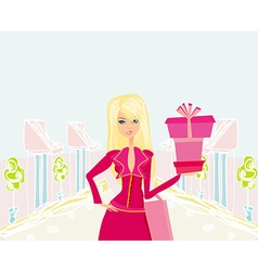 Fashion shopping girl with shopping bags and gift vector