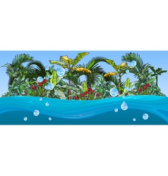 Island with palm trees and tropical plants vector