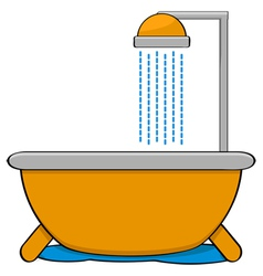 Bathtub with shower vector