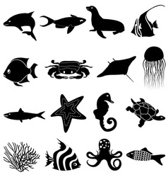 Sea life icons set vector