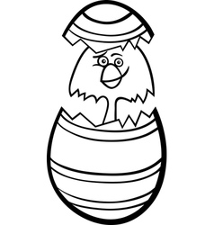 Chick in easter egg cartoon for coloring vector