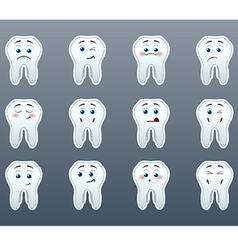 Set of cheerful teeth vector