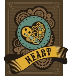 Steampunk mechanical heart vector