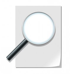 Magnifier and paper sheet vector
