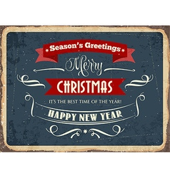 Retro metal sign merry chrismas vector