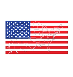 United states flag with map vector