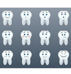 Set of stickers teeth vector
