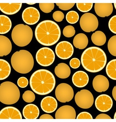 Colorful orange fruits and half fruits dark vector