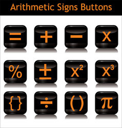 Arithmetic signs buttons vector
