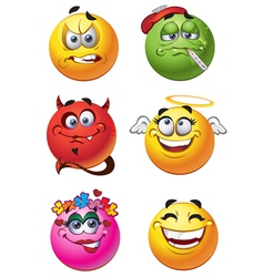 Emoticon smilies set vector